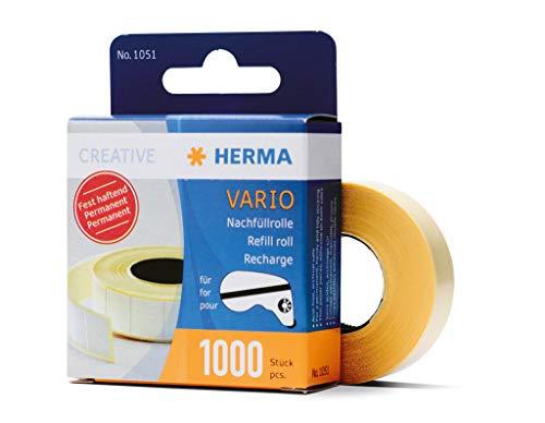 HERMA 1051 Nachfüllrolle für Kleberoller, permanent (13 x 12 mm) selbstklebende Nachfüllkassette mit 1.000 doppelseitigen Klebestücken für Fotos, Basteln, Schule und Büro