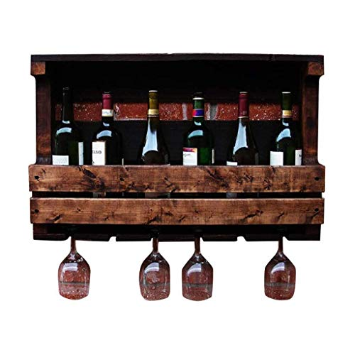 Tenedor de vino Montado en la pared Estante de vino, madera maciza Copa de vino Colgante Estante para estanterías para cocina/bar/de restaurante Decoración (Tamaño: 70 * 42 * 13cm) kyman