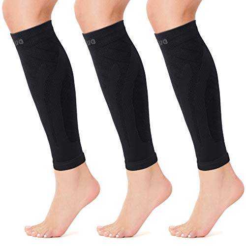Cambivo 3 Pairs Calf Compression Sleeve for Women and Men,Leg Brace for Running, Cycling, Shin Splint Support for Working out(Black, XX-Large)
