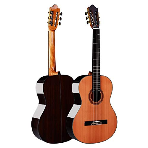 HUANH De gama alta de madera contrachapada hecha a mano clásica clásica de pino luz de 39 pulgadas guitarra de palo de rosa HUANH (Color : Brown)