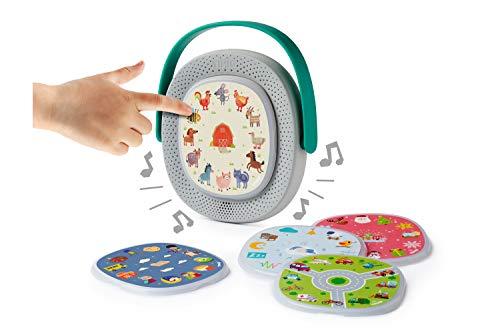 TIMIO-TM02-02 La Caja de música interactiva y educativa Pantalla a Partir de 2 años con Set de iniciación de 5 Discos, 8 Idiomas DE/ES/FR/IT/NL/CN/EN/BR-PT, niños (TM02-02)