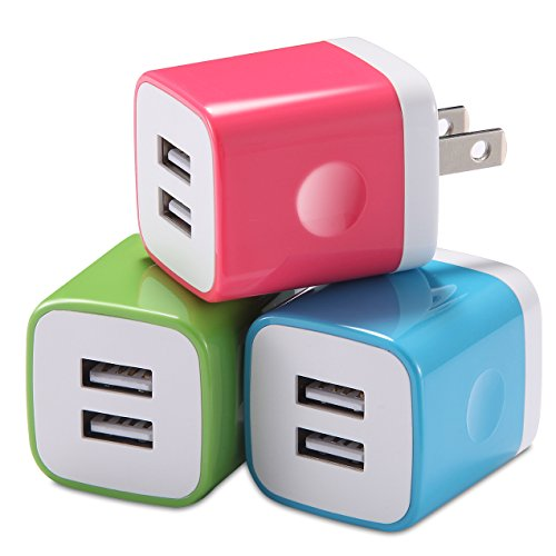 Wall Charger, LEEKOTECH USB Plug 3-Pack 2.1A/5V Universal Dual Port USB Wall Adapter for iPhone, iPad, Samsung Galaxy, iPod, HTC, LG, Nexus, Android and More