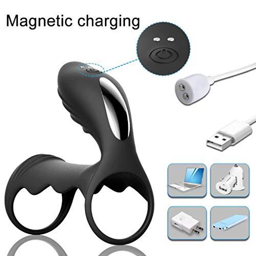 EELOVELY Tragbarer USB-Vibrationsring, Silikon, wasserdicht, dehnbar, Multi-Speed-Lock, feiner Ring Schwarz