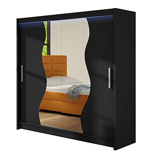 Kleiderschrank mit Spiegel Begas, Schwebetürenschrank, Schiebetürenschrank, Modernes Schlafzimmerschrank, Garderobe, Schlafzimmer (Schwarz, mit RGB...