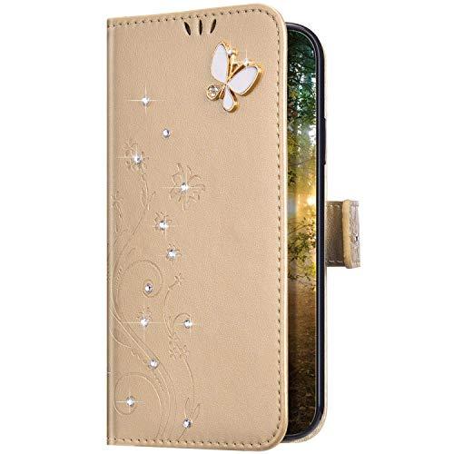 Uposao Kompatibel mit Huawei P30 Pro Hülle Glitzer Bling Strass Diamant Schmetterling Handyhülle Brieftasche Schutzhülle Leder Tasche Wallet Flip Case Cover Klapphülle Kartenfach,Gold
