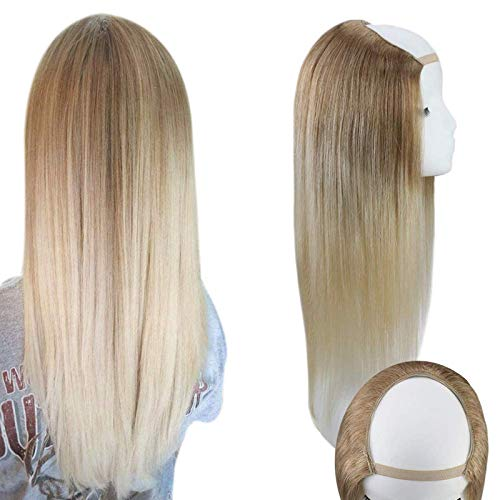 Sunny 18' Half Wig Human Hair Ombre U Part Wigs With Clips #10 Light Brown to #60 Platinum Blonde Ombre Straight Remy Brazilian Human Hair Wigs 120g