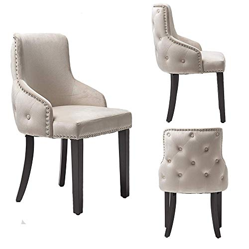 PS Global - Juego de 2 sillas de Comedor Grace, Respaldo con Nudos, Respaldo con botón Profundo, Terciopelo Afelpado Tachonado de cromo Asamblea fácil