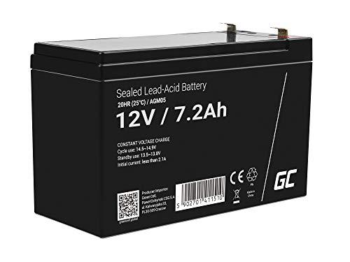 Green Cell® AGM 12V 7,2Ah Akku VRLA Blei-Batterie Bleiakku Ersatzakku Gelakku Akkubatterie Zyklenfest Unbemannt Spielzeug | Elektro Spielzeug| Alarm | Notstrom | Kinderfahrzeuge| Kinder-Quad