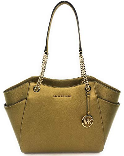 """Top Zip Closure MK Strap Logo, Saffiano Leather Material Double Handles with Leather & Chains Interior: 1 zippered pocket & 2 slip pockets Michael Kors signature lining. Approximate Measuremenrts 11""""-14""""L x 10.5""""H x 4.5"""" D."""