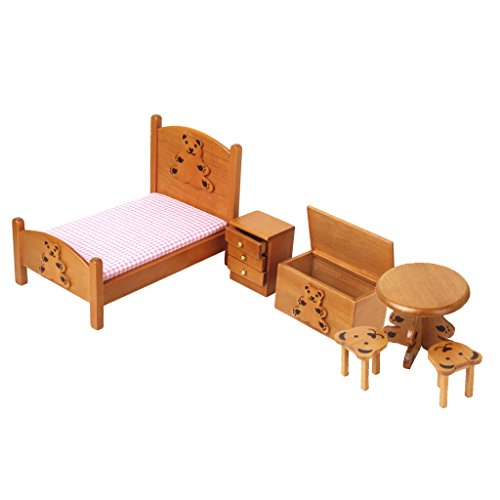 1/12 Maison De Poupee Miniature Meubles Pour Enfants En Bois Chambre Couleur Bois