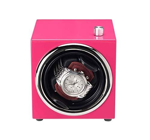 ZOUSHUAIDEDIAN 自動シングルウォッチワインダー、自動腕時計ボックス、回転ディスプレイボックス、5つの回転モード、サイレントモーター、レディースやメンズウォッチストレージに適した (Color : Pink)