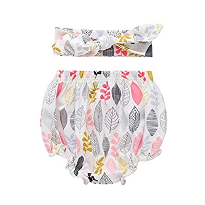 Infant Baby Girl Diaper Covers Cotton Underwear Short Panties with Headband Set Bloomers (D, 3-6 Months)