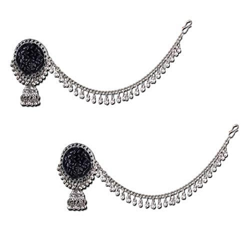 Pendientes tradicionales de bollywood para fiestas, hechos a mano, hechos a mano, oxidados, chapados en plata, estilo festival, color negro