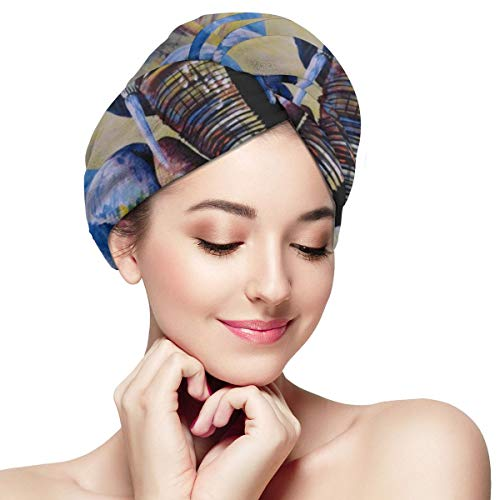 Bettiboy Elephant Mother and Baby Drinking Microfiber Hair Towel Wrap for Women Super Absorbent Quick Dry Hair Turban for Drying Curly Spa Towel 11¡±