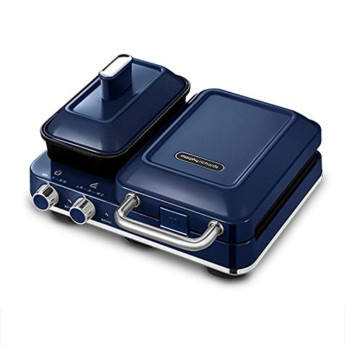 Máquina de desayuno multifunción para hacer gofres, tostadas al horno, tostadora, tostadora, máquina de alimentos ligeros-azul