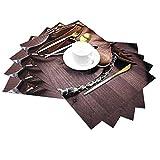 Juego de 6 alfombrillas de PVC, antideslizantes, lavables, ecológicas, ideales para mesas de cocina