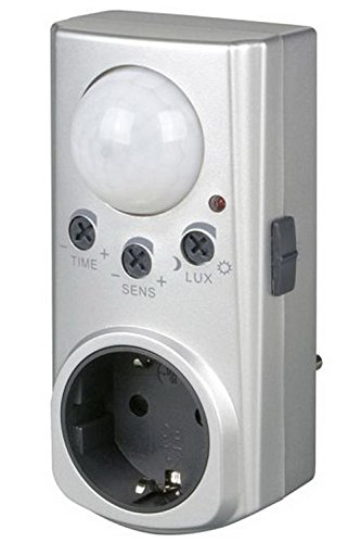 REV BEWEGUNGSMELDER mit Zwischenstecker ǀ automatischer Bewegungsschalter bis 7m Reichweite und 120° Erfassungswinkel ǀ Farbe: Silber