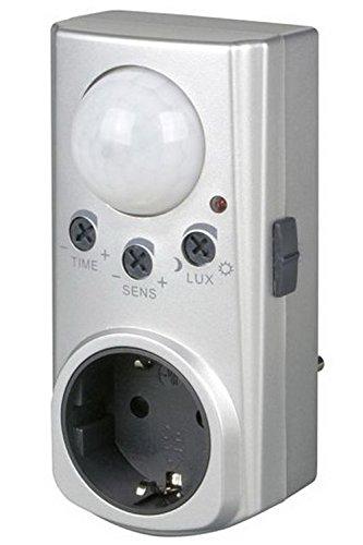 BEWEGUNGMELDER Motion mit Zwischenstecker von 4smile.shop ǀ automatischer Bewegungsschalter bis 7m Reichweite und 120° Erfassungswinkel ǀ Farbe: Silber