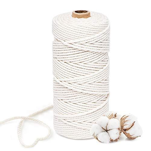Qhui Makramee Garn 3mm x 100m Baumwollgarn Macrame Garn Natur Weiß, Baumwollkordel für DIY Handwerk Basteln Wand Aufhängung Pflanze Aufhänger