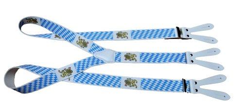 Alpin-Trachten Trachtenhosenträger Hosenträger Edelweiss blau/weiß für Knöpfe