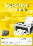 TopStick 8780 - Etiquetas autoadhesivas universales A4 muy pequeño (25,4 x 10 mm, papel) 100 hojas, 189 etiquetas por hoja, 18900 etiquetas, para impresoras inkjet y láser