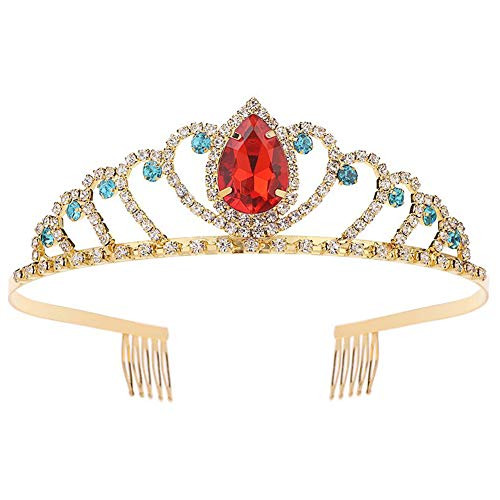 Christmas Princess Crystal Tiara Crown with Comb Women Girls Cosplay Party Queen Bridal Wedding Hair Jewelry Headband 5.5'' Gold