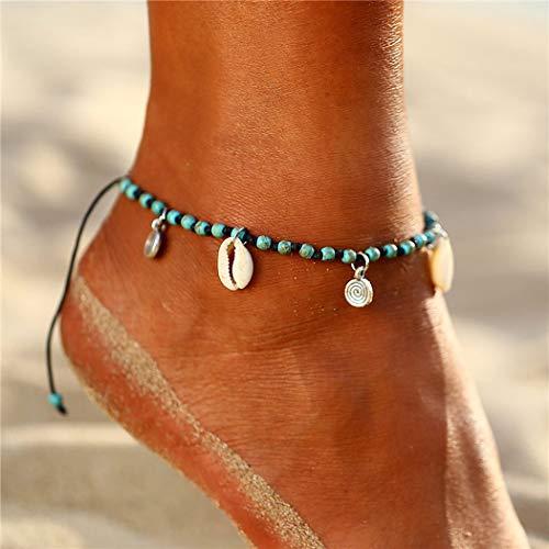 Jovono Blue Boho Perlen Fußkettchen Muschel Fußkettchen Armbänder Mode Strand Fußschmuck mit Herz für Frauen und Mädchen