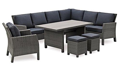 Belardo Hohe Dinning Poly Rattan Lounge inkl. Kissen Colias rechts von Landmann, Lounge inklusive Sessel und Zwei Hocker