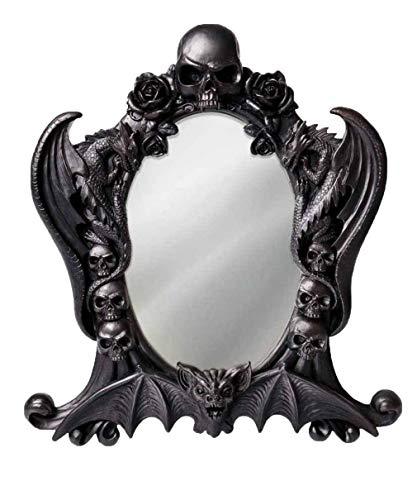 Gothic schwarzer Tischspiegel Vampir Alchemy Nosferatu Deko Spiegel