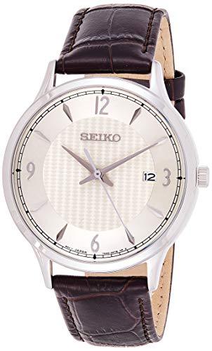 Seiko Quarz Herren-Uhr Edelstahl mit Lederband SGEH83P1