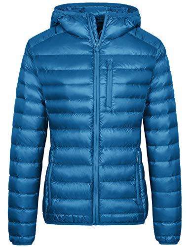 Wantdo Women's Lightweight Packable Hooded Down Puffer Coat(Acid Blue, Medium)