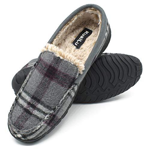 KuaiLu Zapatillas de Estar En Casa Hombre Invierno Cálido Forro de Felpa Zapatillas de Moccasin Espuma de Memoria de al Aire Libre Antideslizante Suela Tallas 45 Gris