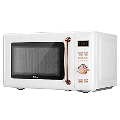 700W Retro Microwave With Display And Rose Golden Handle 0.7 Cu.Ft Five Power Levels Reheating Include Glass Tray And Roller Ring (White)