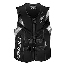 top 10 o neill life vest O'Neill Reactor USCG Men's Life Jacket Black / Black / Black Large