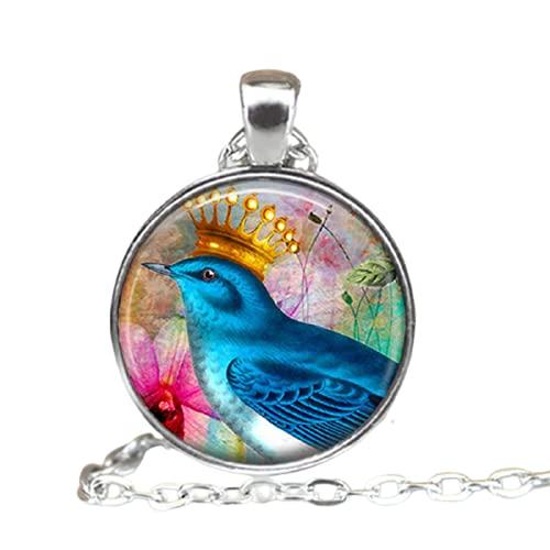 Pájaro azul con una corona de oro de cristal Cabujón collar de joyería de las mujeres colgantes collares regalo de moda 2018