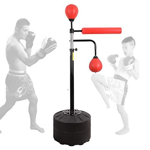 Sandbags Boxsack, Reaktionsziel, höhenverstellbarer Boxball, Stressabbau und Fitness, Reaktionstraining Beintrainingsgeräte (Color : Red, Size : 160-190cm)