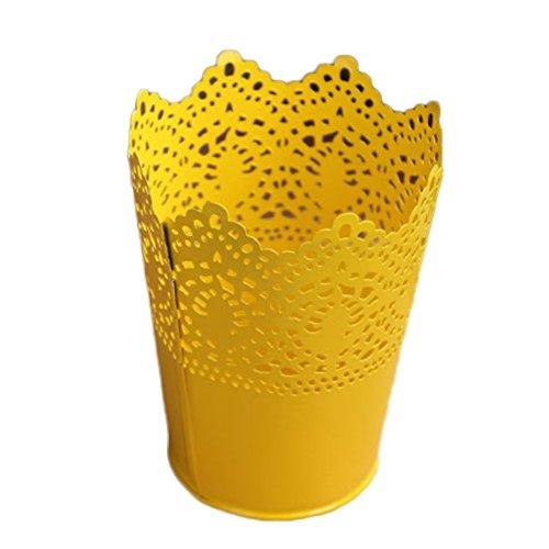 Dosige Pots de Fleurs en Métal Vase à Fer Conteneur Floral Creux Fleurs Pots Décor pour Bureau Maison Jardin - Jaune