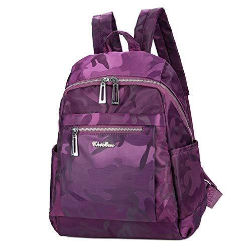 Mochila De Nylon De Las Mujeres Bolsa De La Escuela De Estudiante Bolsa De Hombro Ligero De 13 Pulgadas Bolsa De Viaje De 13 Pulgadas(Size:26 * 13 * 35cm,Color:Camuflaje violeta)