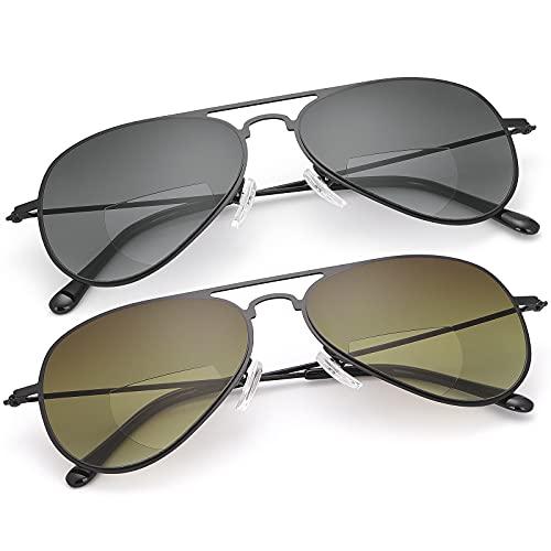 2 pares de gafas de lectura bifocales con protección UV, aviador, gafas de sol deportivas, con bloqueo de luz azul, gafas ligeras para hombres y mujeres, anteojos de seguridad para la conducción