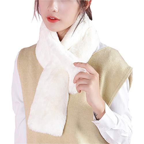 GFBVC Bufanda De Invierno Bufanda Señoras de Invierno All-Match Linda Alumnos japoneses engrosados en el Calor y Collar de Peluche a Prueba de frío. Calentar (Color : White, Size : One Size)