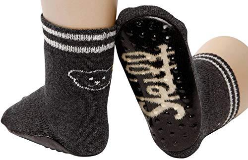Steiff Anti-Rutsch ABS Socken Stoppersocken Laufsohle Teddy Vollfrottee (19/22, Anthrazit)