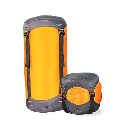 Litume Compression Stuff Sack, Water Resistant Lightweight Sleeping Bag Compression Sack with Drawstring Closure for Camping, Hiking, Backpacking, Traveling, 6L, 8.5L, 10L, 13L (Orange/Medium-8.5L)