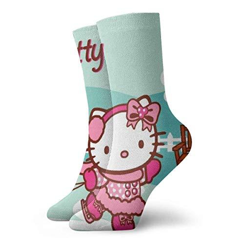 ES Calcetines para hombre Calcetines de compresión Happy Hello Kitty Painting Calcetines deportivos