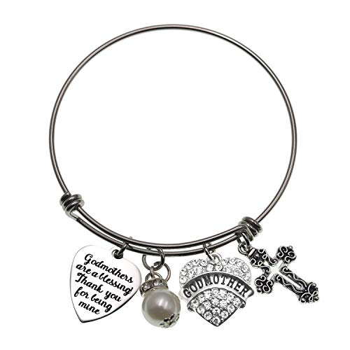 LParkin Godmother Bracelet Godmothers are a Blessing Thank You for Being Mine Bangle Stainless Steel Godmother Gift Jewelry Bracelets …