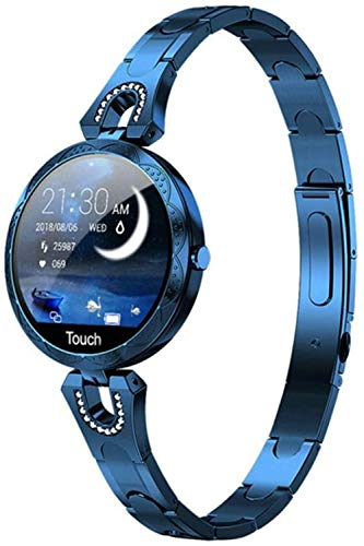 2021 Moda Mujeres s Reloj Inteligente Impermeable Portátil Dispositivo Monitor de Frecuencia Cardíaca Reloj Inteligente Deportivo para Mujeres Señoras-Azul