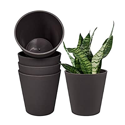 6 Inch Plastic Planters Indoor Set of 5 Cylinder Flower Plant Pots Modern Decorative Garden Pot with Drainage and Plugs for All House Plants, Herbs, Foliage Plants, Hanging Plants, Gray