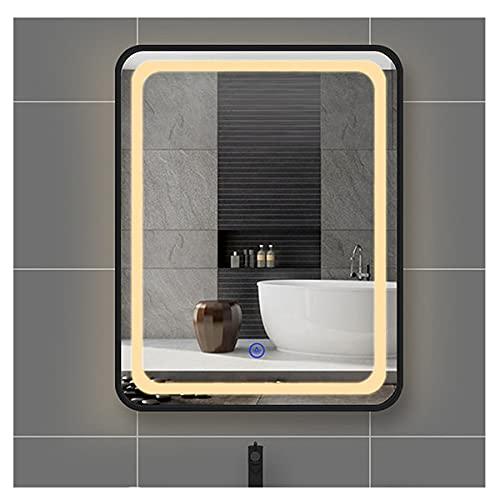 Espejo de baño iluminado con luz LED con interruptor de sensor táctil regulable, espejos de baño montados en la pared para maquillaje (color: F, tamaño: 700 mm x 900 mm)