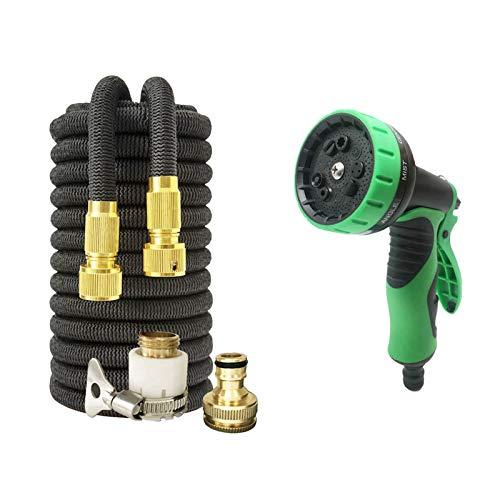 LOVCCIE Hose Pipe Spray Gun,Retractable Garden Hose Magic Hose Car Wash Watering and Irrigation Multiple Spray Modes (Color : Black, Size : 50ft)