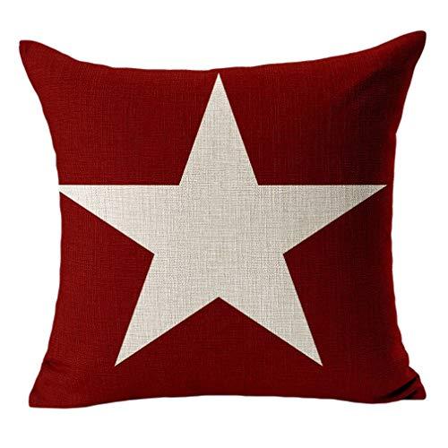 Bigood sofá almohada cojín almohada carcasa 18'estrella roja