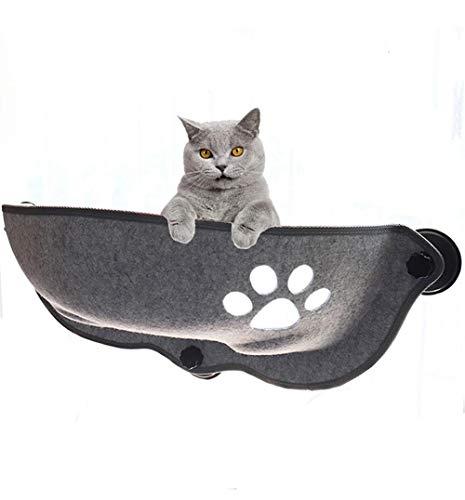 Dracol Cama para gatos con ventana, baño para el sol, ventana con manta para gatos, mullida, hamacas con ventana, tumbona para mascotas, con 3 grandes ventosas, color gris